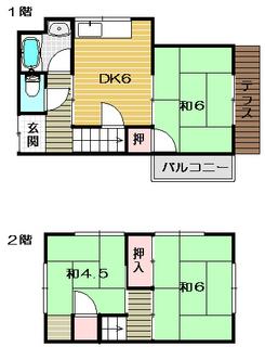 茨木市の一戸建貸家 中河原一戸建の物件間取