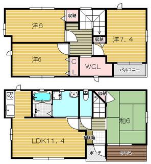 茨木市の一戸建貸家 ユーティー58の物件間取